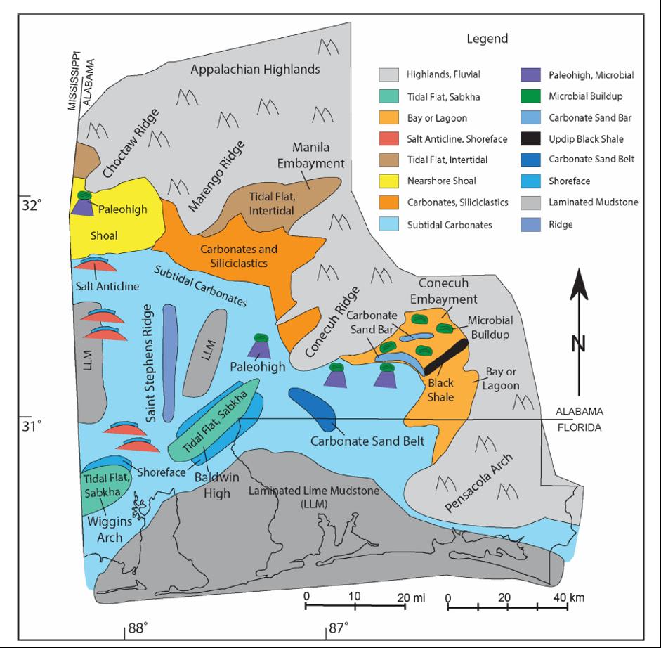 Smackover Paleogeography, Southwestern Alabama